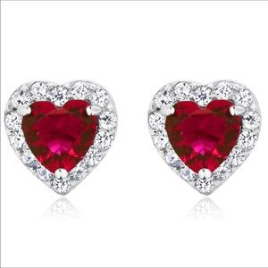 Heart shaped ruby sterling silver earrings